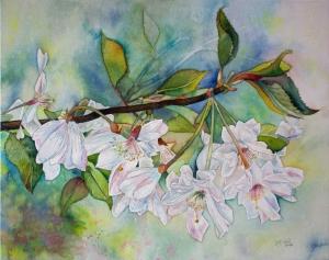 Kirschblütenfest (c) Aquarell auf Leinwand von Frank Koebsch k