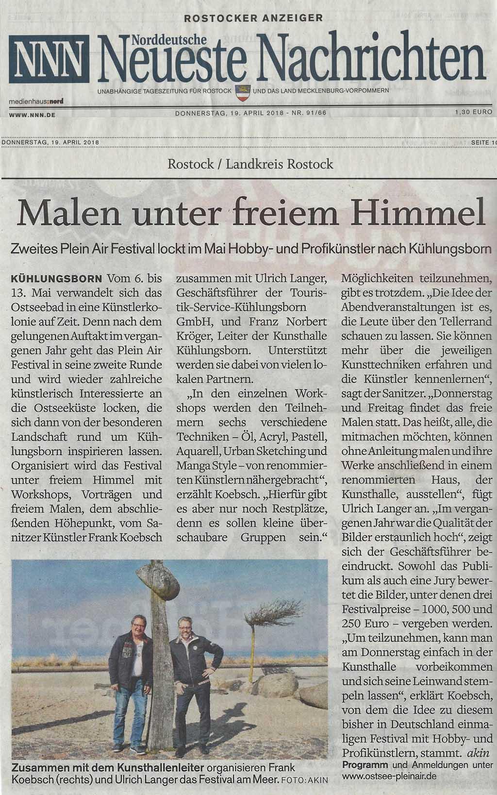 Malen unter freiem Himmel - Zweites Plein Air Festival lockt im Mail Hobby- und Profikünstler nach Kühlungsborn - NNN 2018 04 19