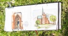 Plein Air Festival 2018 - Blick in ein Sketching book beim Doberaner Münster (c) Frank Koebsch