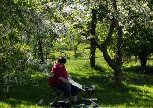 Plein Air Festival 2018 - Ostblüten geben den Pastellmalen in der Alten Büdnerei einen tollen Rahmen (c) Frank Koebsch (2)