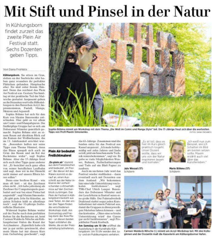Plein Air festival 2019 - Mit Stift und Pinsel inn der Natur - Ostsee Zeitung 2019 05 08