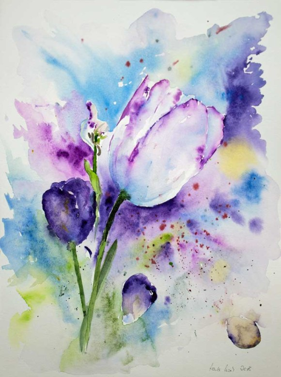 Tulpengruß (c) Aquarell von Hanka Koebsch