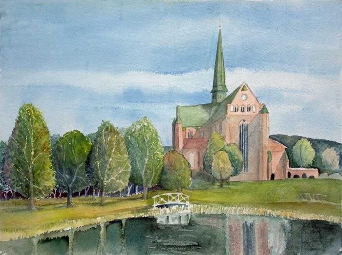 Das Doberaner Münster im Frühling (c) Aquarell von Frank Koebsch