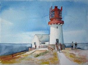 Leuchtturm am Kap Lindesnes -Südkap Norwegens (c) Aquarell von Frank Koebsch