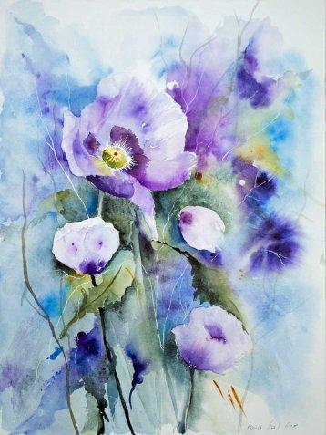 Lila Mohnblüten (c) Aquarell von Hanka Koebsch