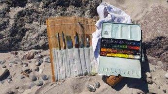 Meine Aquarellfarben und -pnsel aam Strand von Heiligendamm (c) Frank Koebsch (1)