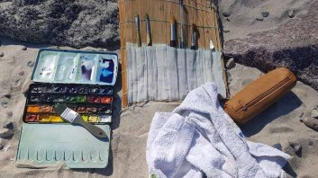 Meine Aquarellfarben und -pnsel aam Strand von Heiligendamm (c) Frank Koebsch (2)