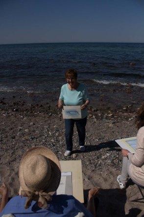 Plein Air Festival 2018 - Karin Kuthe erklärt am Starnd von Heiligendamm - wie man Wellen malt (c) FRank Koebsch