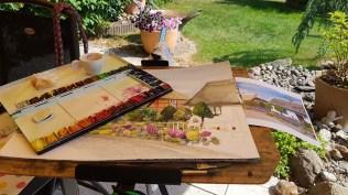Ein Rügenaquarell vom Mönchgut wird im heimischen Garten fertig gestellt (c) Frank Koebsch (1)