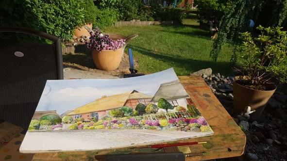 Ein Rügenaquarell vom Mönchgut wird im heimischen Garten fertig gestellt (c) Frank Koebsch (2)