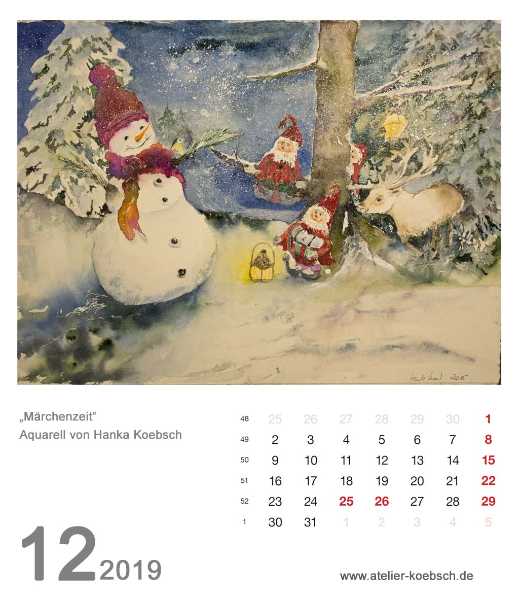 Kalenderblatt Dezember 2019
