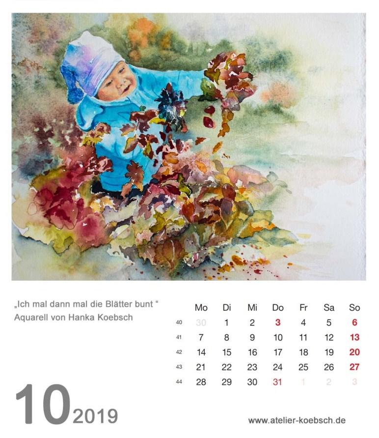 Kalenderblatt Oktober 2019