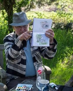 Plein Air Festival 2018 - Die Aquarellmaler werten in der Alten Büdnerei Ihren Workshop aus (c) Frank Koebsch (28)