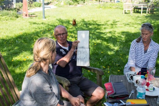 Plein Air Festival 2018 - Die Aquarellmaler werten in der Alten Büdnerei Ihren Workshop aus (c) Frank Koebsch (45)