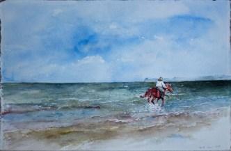 Wellenreiter (c) Aquarell von Hanka Koebsch.