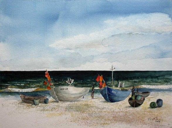Fischerboote am Strand von Baabe (c) Aquarell von Frank Koebsch