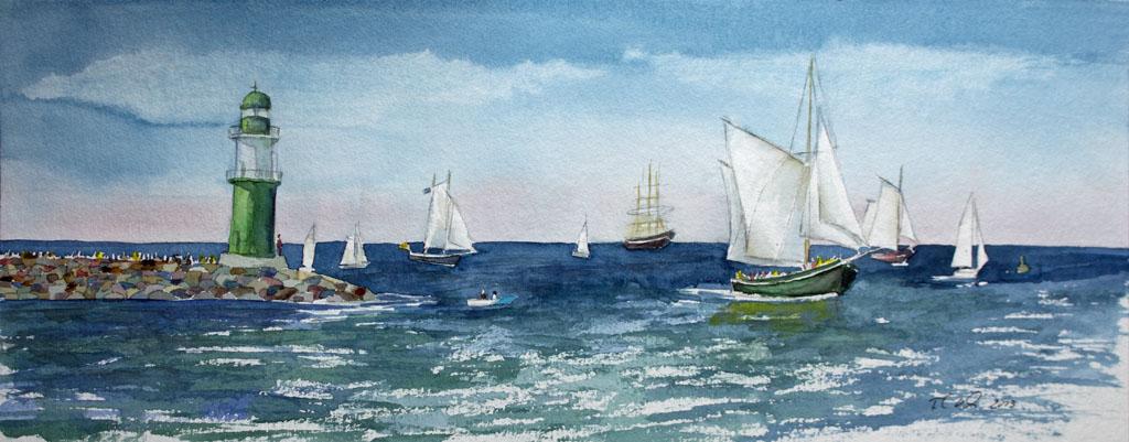 Hanse Sail (c) Aquarell von Frank Koebsch