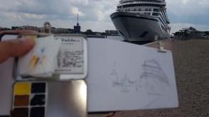 Skizzieren der Viking Sky ( (c) Frank Koebsch (1)