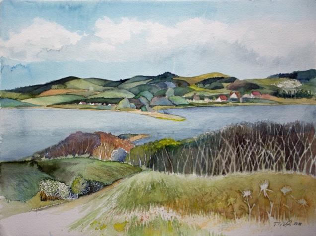 Blick über den Bodden auf die Zickerschen Berge (c) Möngut Aquarell von Frank Koebsch