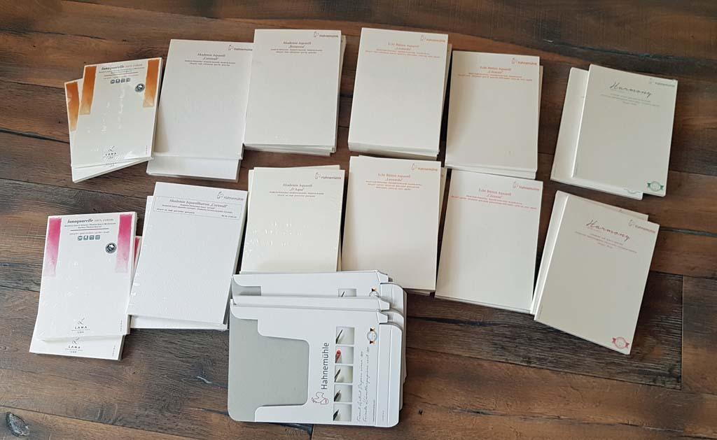 Eine Auswahl von Aquarell Probepapier von Hahnemühle (c) Frank Koebsch (1)