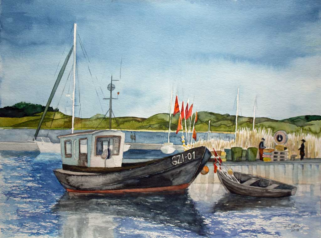 Kutter GZI 01 im Hafen von Thiessow (c) Rügen Aquarell von FRank Koebsch