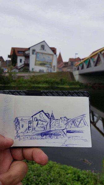 Skizze für mein Aquarell aus Schwaan (c) FRank Koebsch