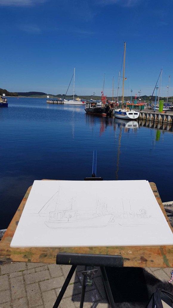 Vorzeichnung für das Aquarell mit dem Kutter im Hafen von Zicker (c) Frank Koebsch