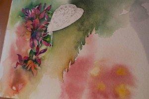 Zwischenschritt 1 für das Schmetterlingsaquarell - Farbspiele im Spätsommer (c) FRank Koebsch