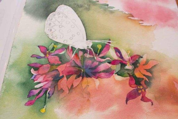 Zwischenschritt 2 für das Schmetterlingsaquarell - Farbspiele im Spätsommer (c) FRank Koebsch