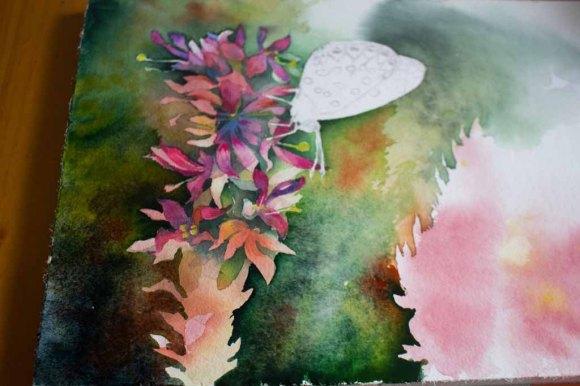 Zwischenschritt 3 für das Schmetterlingsaquarell - Farbspiele im Spätsommer (c) FRank Koebsch