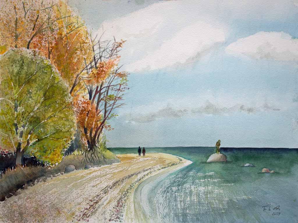 Herbst am Südstrand von Sellin (c) Rügen Aquarell von FRank Koebsch