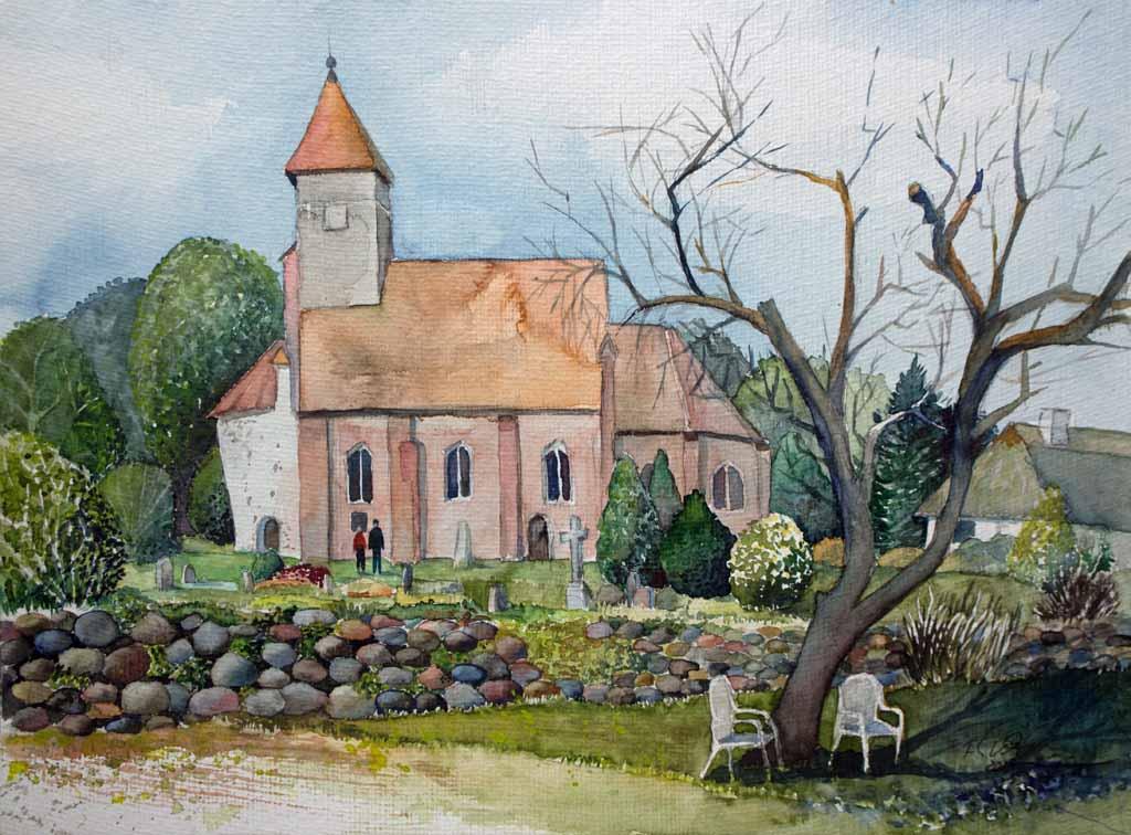 Katharinenkirche in Middelhagen (c) Aquarell von Frank Koebsch