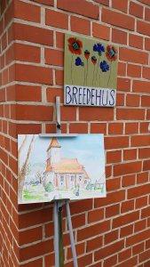 Kirche von Middelhagen als Aquarell von Manfred Biskup