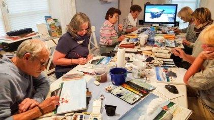 Bei Schlechtwetter malen wir die Fischerboote in der Ferienwohnung tohus in Middelhagen (c) Frank Koebsch (2)
