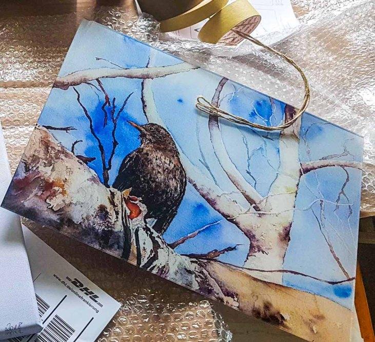 Druck auf Acrylglas vom Amsel Aquarell - Wo bleibt es denn (c) Hanka KOebsch