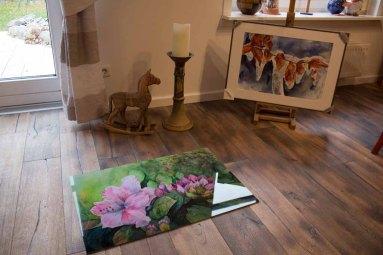 Galerie Druck auf Alu Dibond vom Aquarell - Rhododendronblüten (c) FRank Koebsch (1)