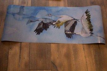 Posterdruck vom Kranich Aquarell - Auf den Weg nach Rügen (c) Frank Koebsch