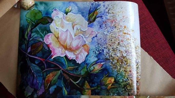 Posterdruck vom Rosen Aquarell - Die letzen Blüten im Herbst (c) Frank Koebsch