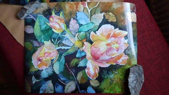 Posterdruck vom Rosen Aquarell - Herbstfeuer (c) Frank Koebsch