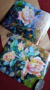 Posterdrucke von unseren Rosenaquarellen (c) Frank Koebsch