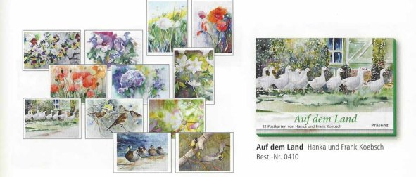 Postkarten Box - Auf dem Land - mit Aquarellen von Hanka Und FRank Koebsch im Herbst- und Winterkatalog des Präsenz Verlages 2018