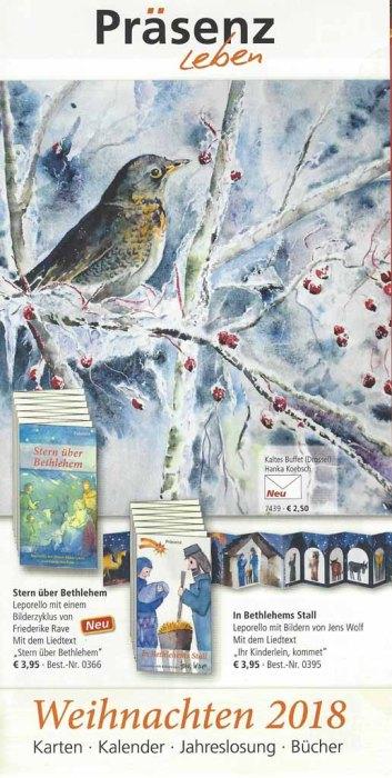 Weihnachten 2018 im Präsenz Verlag mit Hankas Drossel im Aquarell - Kaltes Buffet