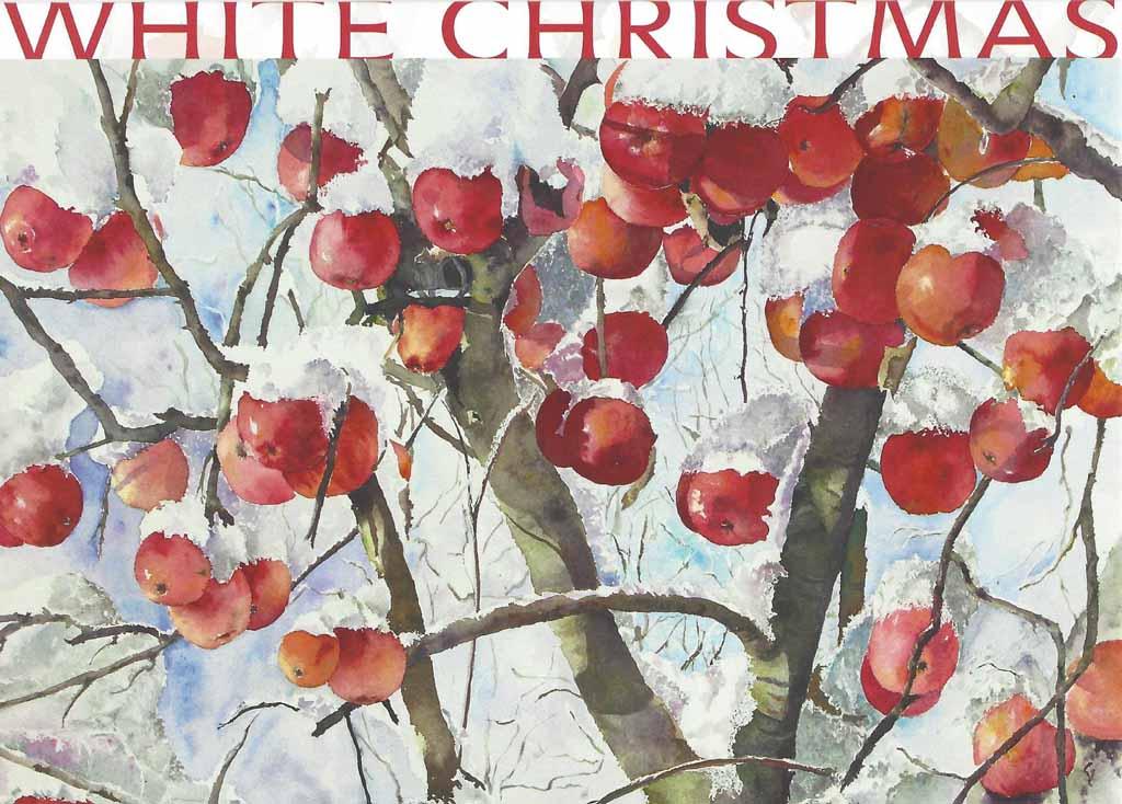 Weihnachtskarte mit Hankas Aquarell - Winteräpfel