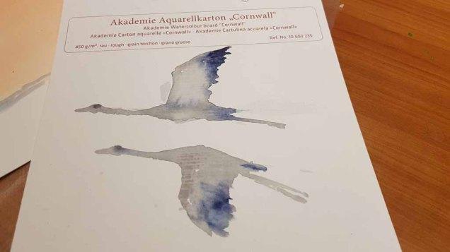 Wie malt man einen Kranich im Flug (c) FRank Koebsch