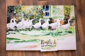 Druck auf Leinwand und Kunstkarte vom Aquarell - Im Gänsemarsch (c) Hanka Koebsch