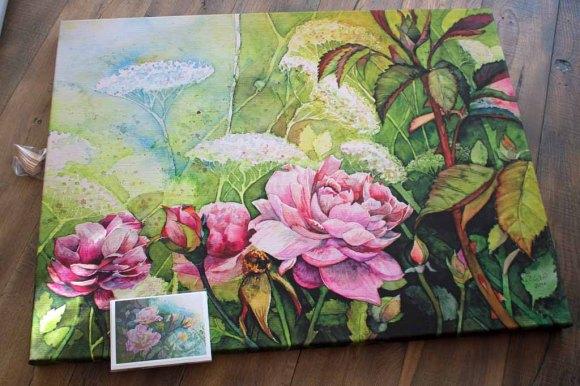 Druck auf Leinwand vom Aquarell - Rosengarten - und eine Kunstkarte (c) Frank Koebsch