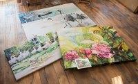 Drucke auf Leinwand von unseren Aquarellen mit Kunstkarten zum Größenvergleich (c) Frank Koebsch (1)