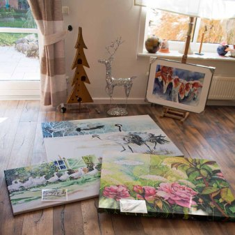 Drucke auf Leinwand von unseren Aquarellen mit Kunstkarten zum Größenvergleich (c) Frank Koebsch (2)