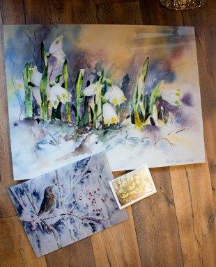 Galerieprint auf AluDibond vom Aquarell ... und dann wurde es warm, Druck auf Acryl Glas vom Aquarell – kaltes Buffet und Kunstkarte © Hanka Koebsch (1)