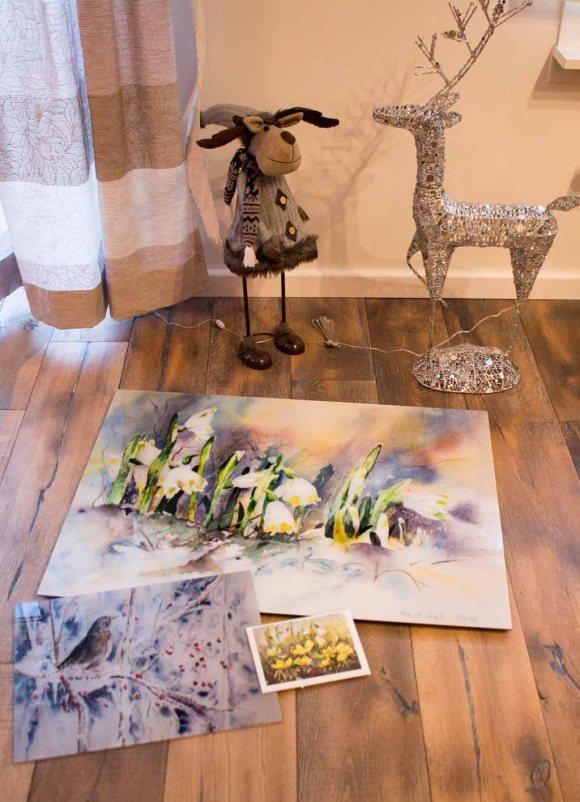 Galerieprint auf AluDibond vom Aquarell ... und dann wurde es warm, Druck auf Acryl Glas vom Aquarell – kaltes Buffet und Kunstkarte © Hanka Koebsch (2)